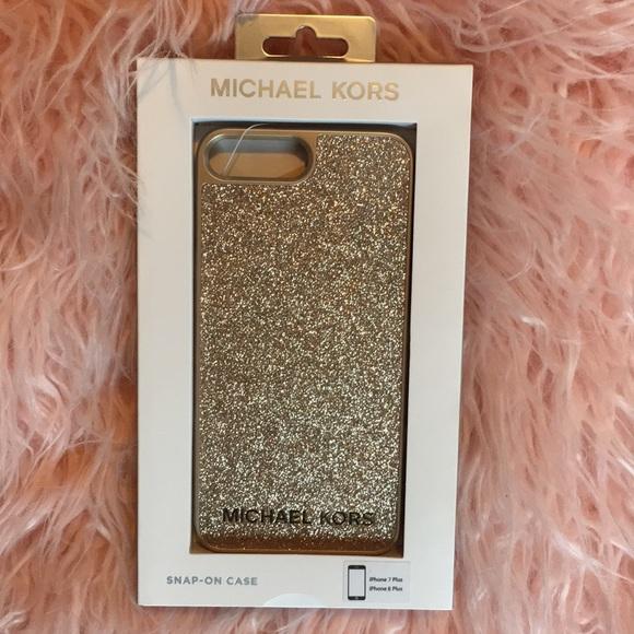 lowest price c216b 385b5 NWT Gold Glitter Michael Kors iPhone 7/8 Plus Case NWT